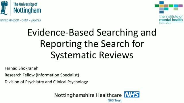 Evidence-Based Searching and Reporting the Search for Systematic Reviews