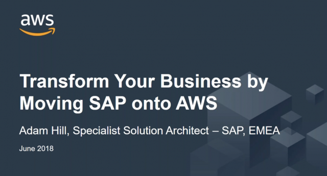 Transform Your Business by Moving SAP onto AWS