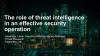 The role of threat intelligence in an effective security operation