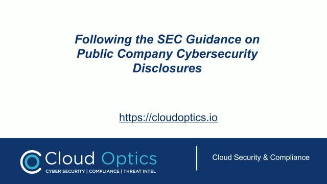 SEC Guidance - Cyber Security Disclosures