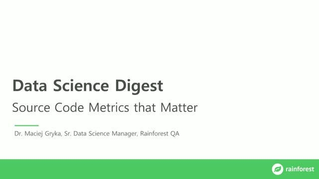 Data Science Digest: Source Code Metrics that Matter