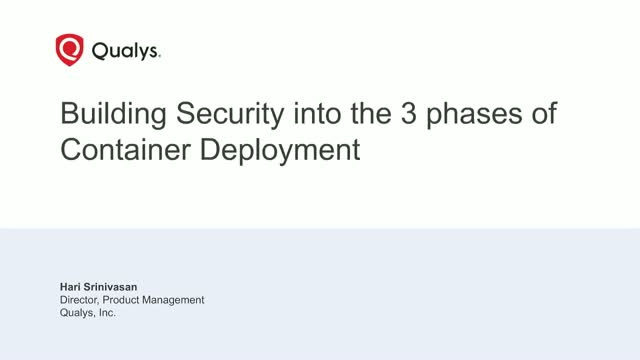 Building Security into the 3 Phases of Container Deployment