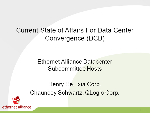 Current State of Affairs for Data Center Convergence Webinar