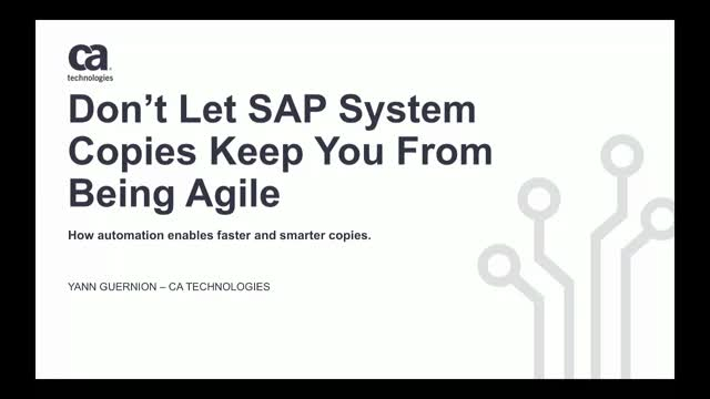 Don't Let SAP System Copies Keep You From Being Agile