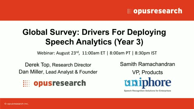 Global Survey: Drivers For Deploying Speech Analytics (Year 3)