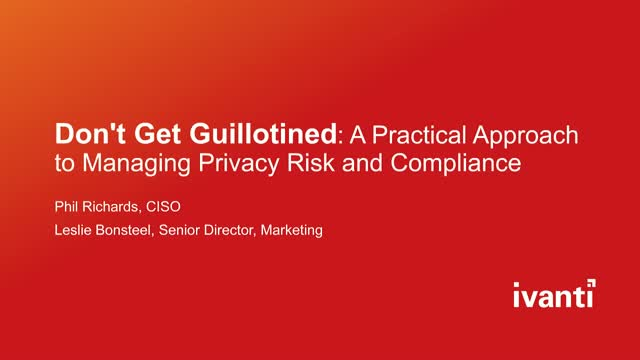 Don't Get Guillotined: A Practical Approach to Privacy Risk and Compliance