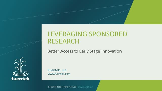 Using sponsored research as a pathway to licensing early stage technologies