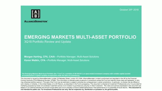 AB Emerging Market Multi-Asset Portfolio: 3Q18 Portfolio Review and Update