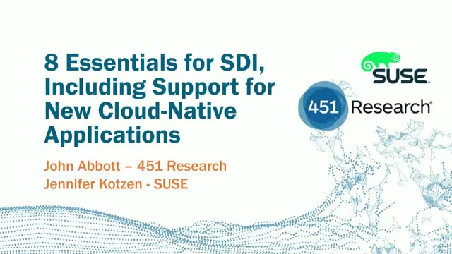 8 Essentials for SDI, Including Support for New Cloud Native Applications