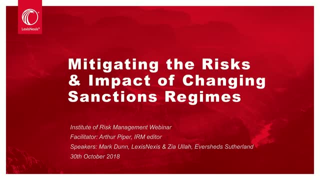 Mitigating the Risks and Impact of Changing Sanctions Regimes