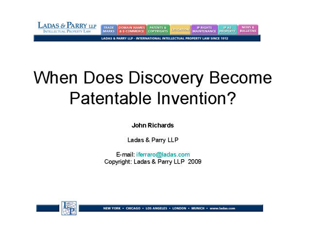 When does Discovery become Patentable Invention?