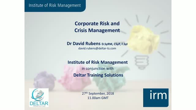 Corporate Risk and Crisis Management