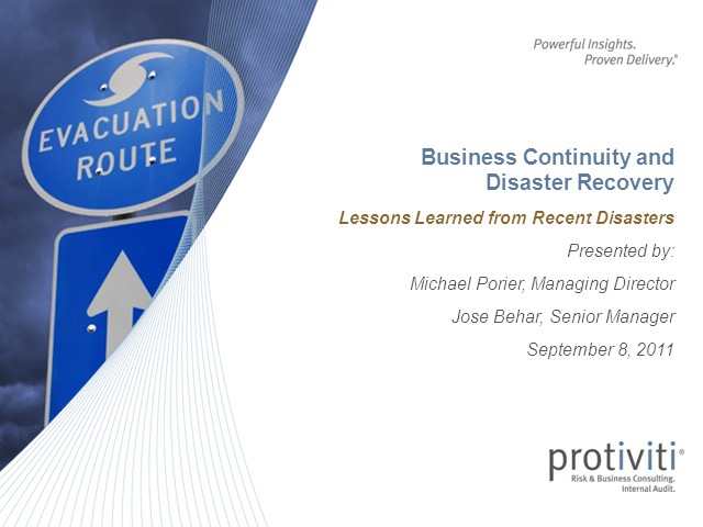 Business Continuity & Disaster Recovery – Lessons Learned