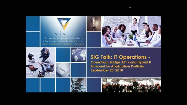 IT Ops SIG Talk Series - OpsBridge API's & Hybrid IT Blueprint for App Portfolio
