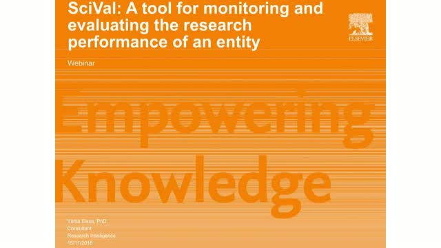 SciVal for monitoring and evaluating the research progress of an entity (Arabic)