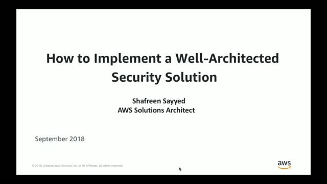 How to Implement Well-Architected Security Solution on AWS