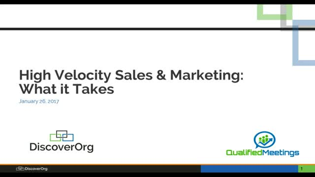 High Velocity Sales & Marketing: What it Takes