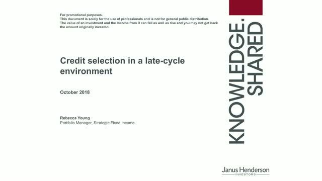 Credit selection in a late cycle environment