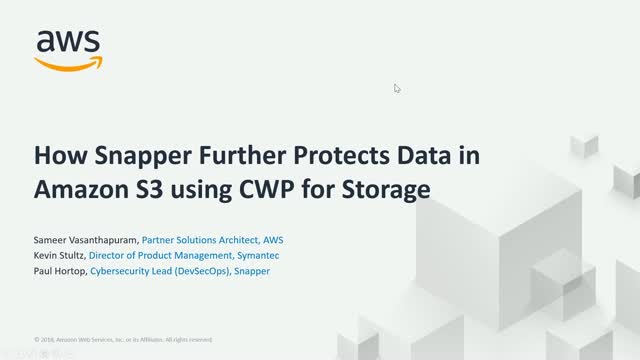 How Snapper Further Protects Data in Amazon S3 Using CWP for Storage