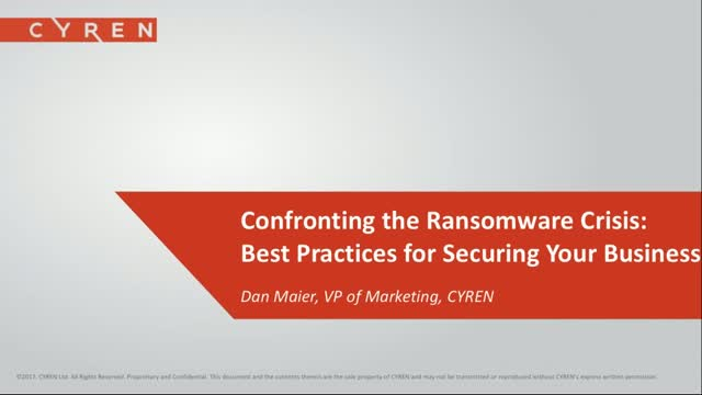 Confronting the Ransomware Crisis: Best Practices for Securing Your Business