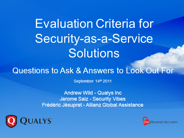 Evaluation Criteria for Security-as-a-Service Solutions