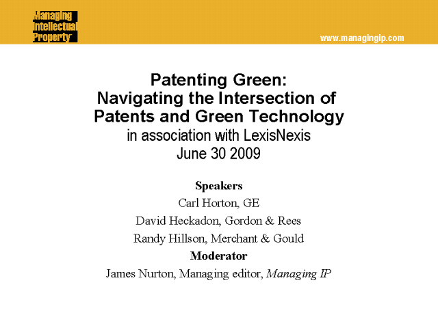Patenting Green: The Intersection of Patents and Green Technology