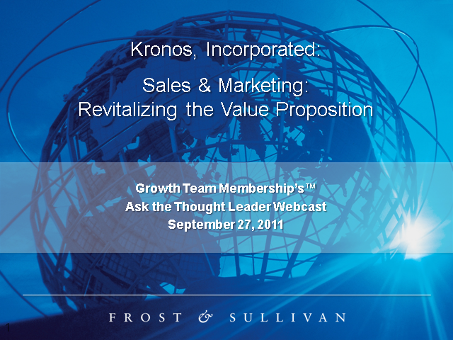 Sales & Marketing: Revitalizing the Value Proposition