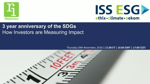 3 Year Anniversary of the SDGs: How Investors Are Measuring Impact