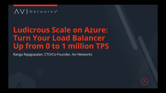 Ludicrous Scale on Azure: Turn Your Load Balancer Up from 0 to 1 million TPS