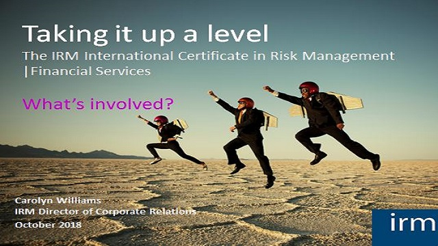 The IRM International Certificate in Financial Services Risk Management