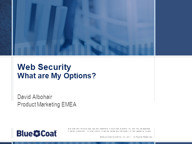 Web Security:What are My Options?