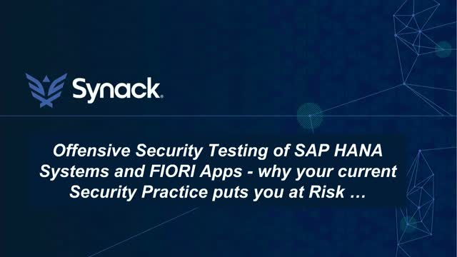 Offensive Security Testing for SAP HANA and Fiori Apps&#x3B; why you are at risk ...