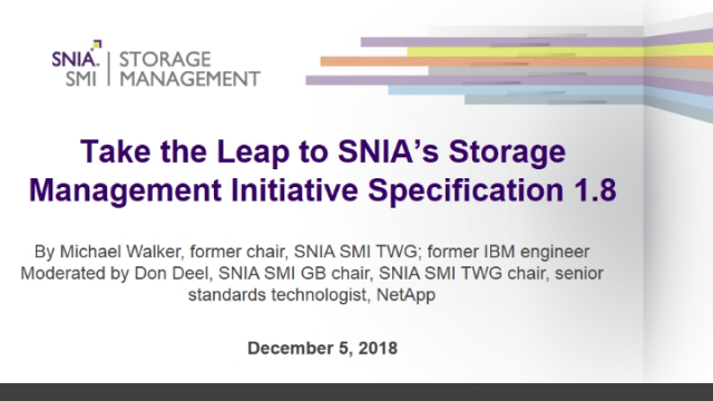 Take the Leap to SNIA's Storage Management Initiative Specification 1.8