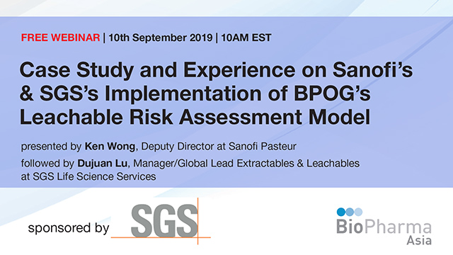 Sanofi's and SGS'S Implementation of BPOG'S Leachable Risk Assessment model...