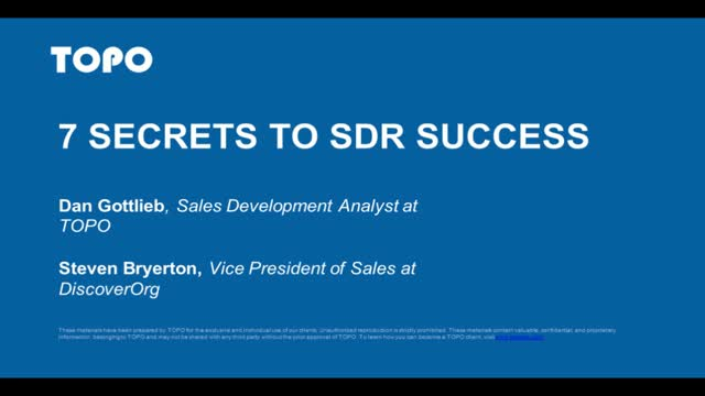 7 Secrets to SDR Success