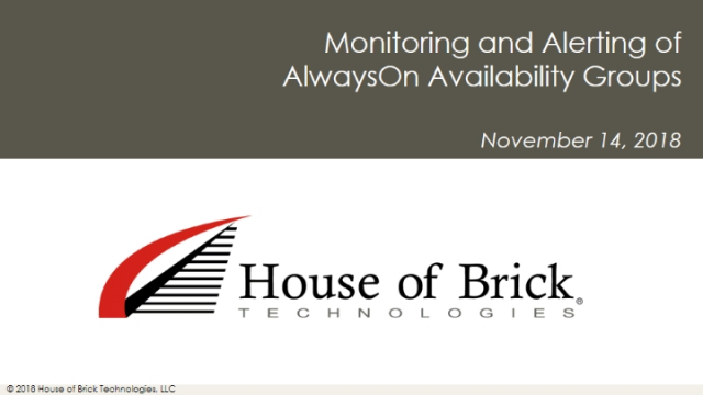Monitoring and Alerting of Availability Groups