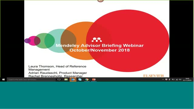Mendeley Advisor Briefing Nov 1, 2018