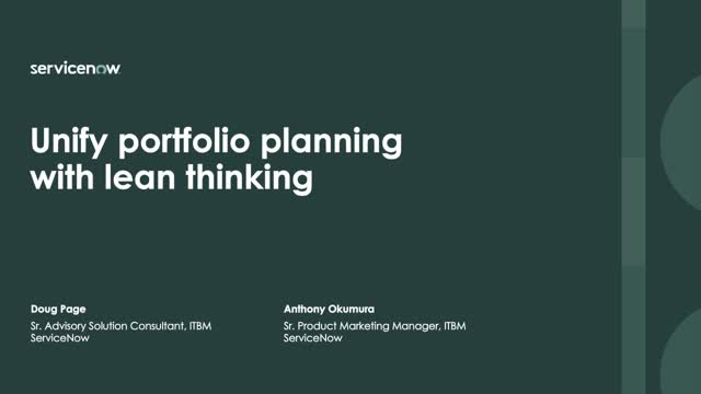 Unify Portfolio Planning with Lean Thinking