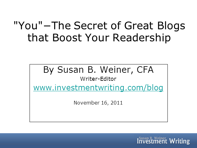"""You""−The Secret of Great Blogs that Boost Your Readership"
