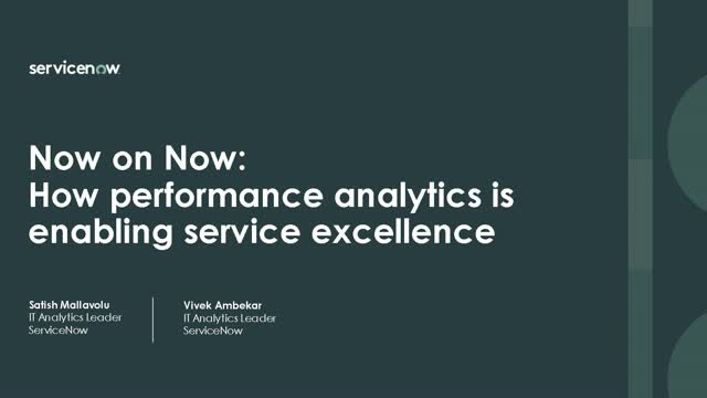 Now on Now: How Performance Analytics is enabling service excellence