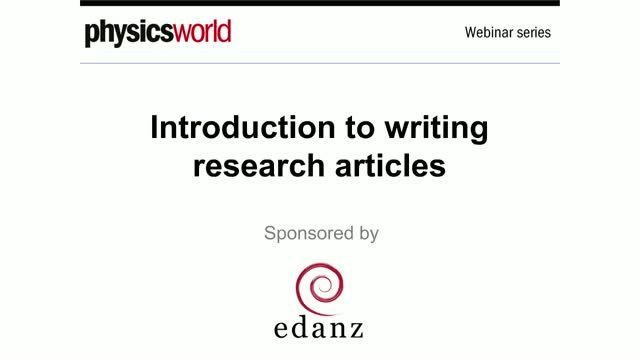 Introduction to writing research articles