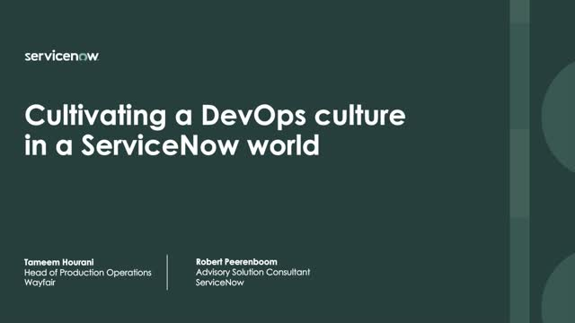 Cultivating a DevOps Culture in a ServiceNow World