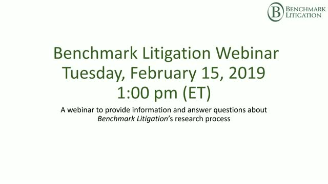 2020 Benchmark Litigation Webinar - Your Research Questions Answered