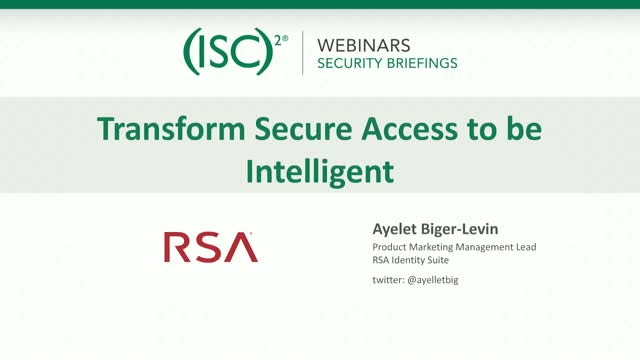 RSA #3 - Transforming Secure Access to be Intelligent