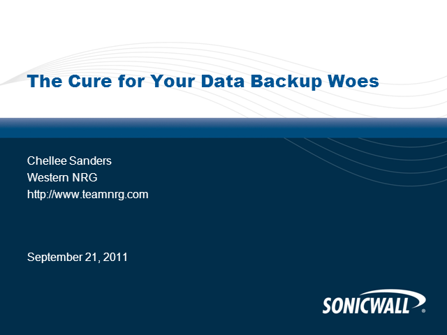 The Cure for your Data Backup Woes