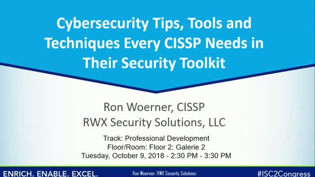 Tips, Tools & Techniques Every CISSP Needs in Their Security Toolkit