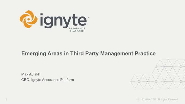 Emerging Areas  in Third Party Management Practices