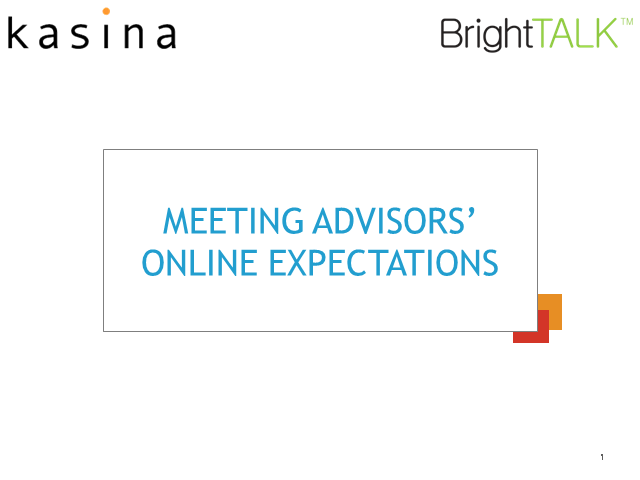 Meeting Advisors' Online Expectations