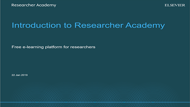 Researcher Academy: An introduction to e-learning resources for researchers
