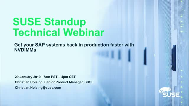 Get your SAP systems back in production faster with NVDIMMs